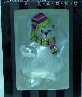 Radko Polar Bear Ornament New In Box Celebrations Front