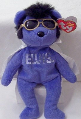 Elvis Blue Bear White Cape Ty Beanie Babies New With Tag ... e58f7035730