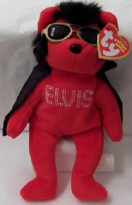 Elvis Red Bear Black Cape Ty Beanie Babies New With Tag - GoodNReadyToGo 11c734f25486