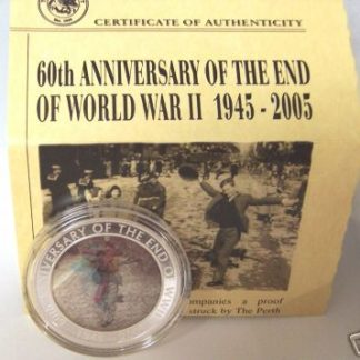 Dancing Man Silver Coin Moving Image Technology Uncirculated 60th Anniversary End of WWII