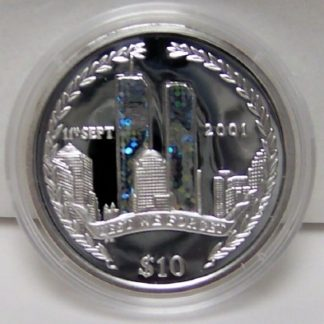 9-11 Silver Proof Coin BVI 2002 Unc.