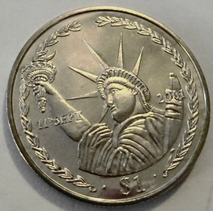 Statue Liberty 9-11 Coin BVI 2002 Uncirculated Front