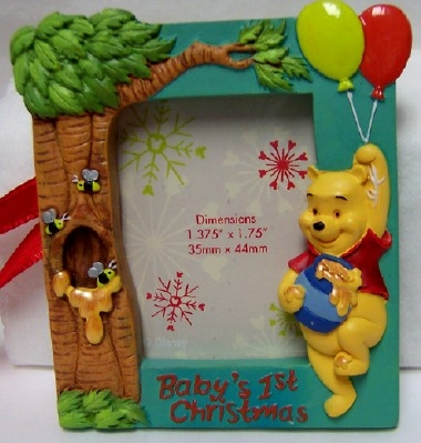 Disney Babys First Christmas Winnie The Pooh Photo Frame Ornament
