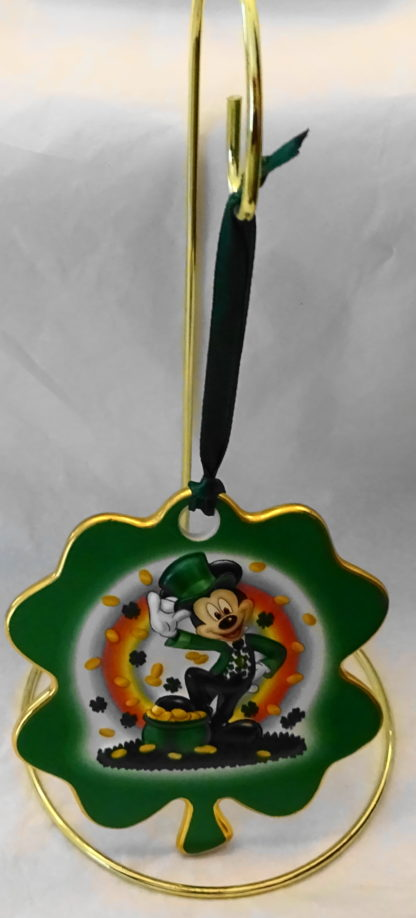 Disney Irish Leprechaun Mickey Disc Christmas Ornament New Front