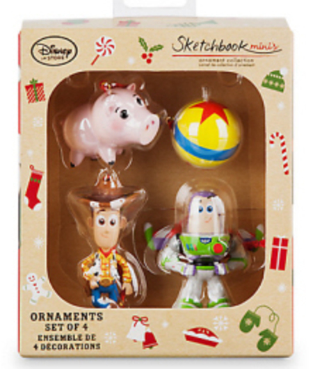 Toy Story Christmas Ornaments.Disney Toy Story Buzz Lightyear Woody Hamm And Ball Sketchbook Minis Christmas Ornaments Set Of 4 New In Box