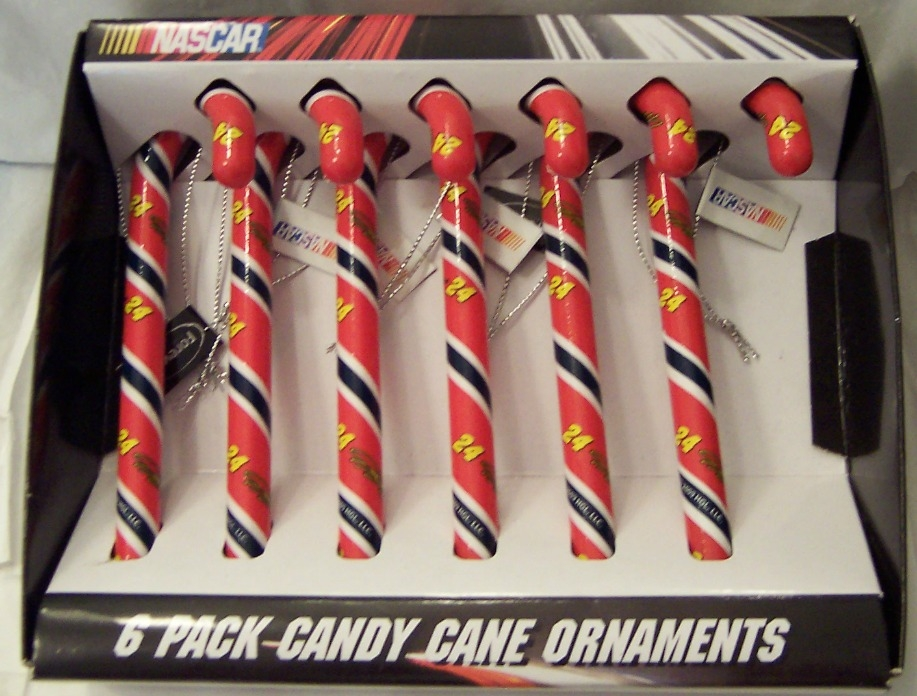 Jeff Gordon #24 NASCAR Candy Cane Christmas Ornament Set of 6 New In Box Fr