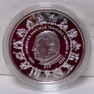 PJPII Cross Silver Coin SLE 2005 Uncirculated Stations Of The Cross Front