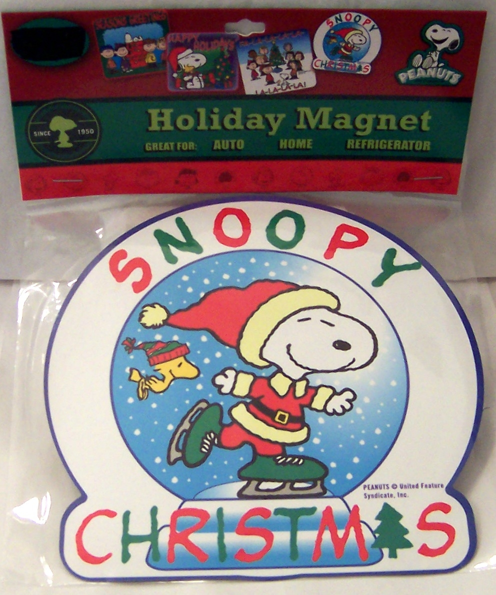 Snoopy And Woodstock Christmas.Santa Snoopy And Woodstock Christmas Jumbo Holiday Magnet New Sealed In Pack