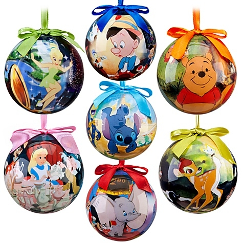 World Of Disney Classic Films Decoupage Collectible Christmas Ornament Set 7 Pc New In Box