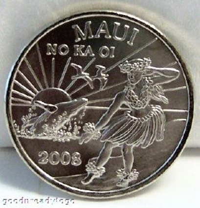 Maui Trade Dollar Whale Hula Dancer 2008 Copper-Nickel Coin Uncirculated Front