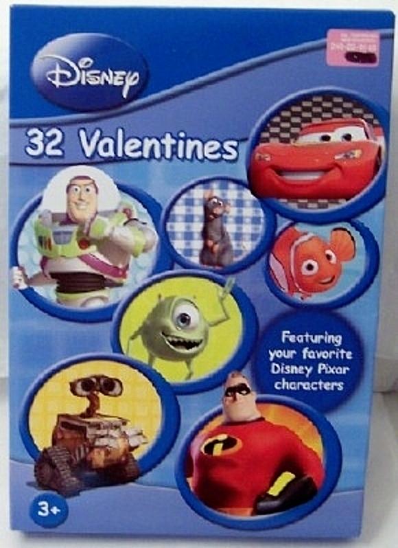 Disney Pixar Valentines Cards 32 New In Box 8 Fun Designs With