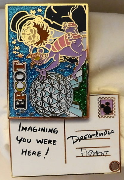 Disney Figment Dreamfinder Pin Annual Passholder 2015 Postcard Series New Front Open