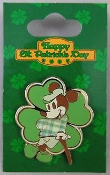 Disney Irish Mickey Pin Shamrock Happy St Patrick's Day New On Card