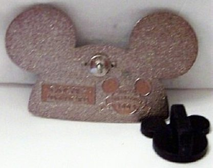 Disney Silver Ears Pin Mickey Jeweled Back