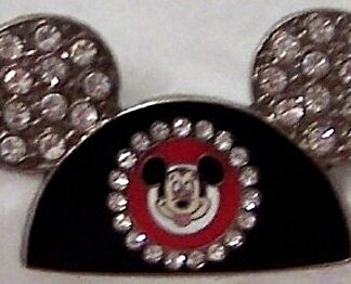 Disney Silver Ears Pin Mickey Jeweled Front