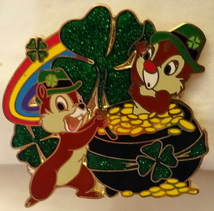 Disney St Patrick's Pin Chip 'n' Dale Pot 'o' Gold New Front