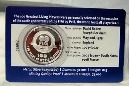 FIFA Beckham Silver Medal New Back Detail