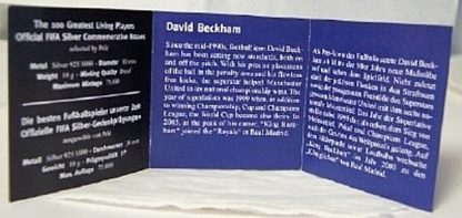 FIFA Beckham Silver Medal New Certificate Of Authenticity Inside