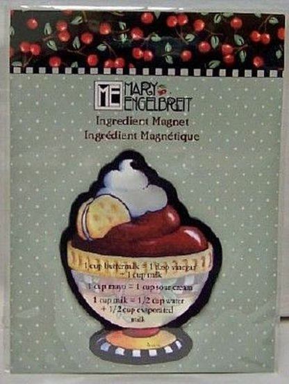 Mary Engelbreit Chocolate Pudding Ingredient Magnet New Front