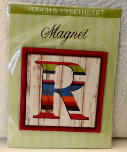 Pooch & Sweetheart R Initial Flat Magnet Front