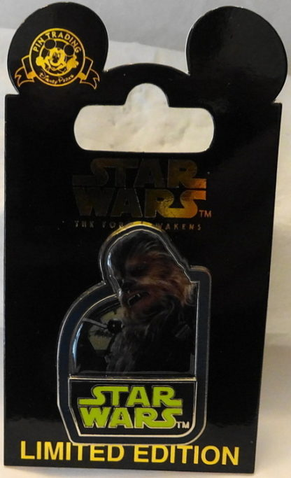 Force Awakens Chewbacca Pin Disney Star Wars Countdown #3 Limited Edition New On Card Front