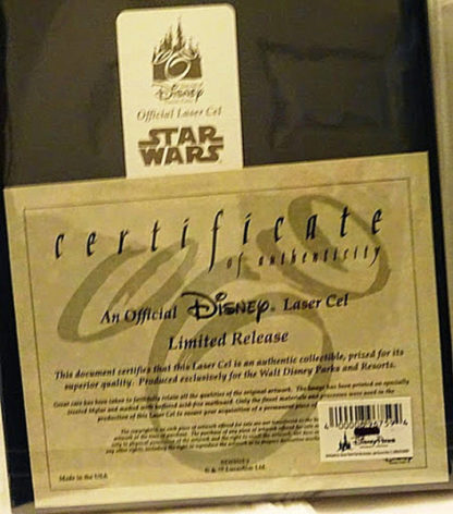 Stormtrooper Donald Laser Cel Limited Release New Back Certificate Of Authenticity Closeup