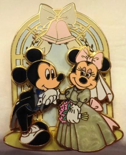 Disney Mickey Groom Minnie Bride Wedding Chapel Pin New Front 2