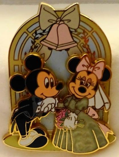 Disney Mickey Groom Minnie Bride Wedding Chapel Pin New Front