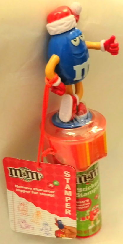M&M'S Blue 2009 Stickers + Christmas Stamper New With Tag Side 1