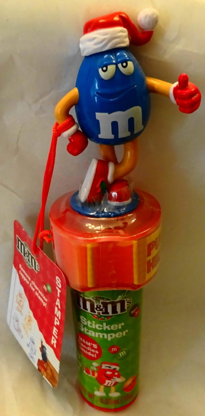M&M'S Blue 2009 Stickers + Chritmas Stamper New With Tag Front