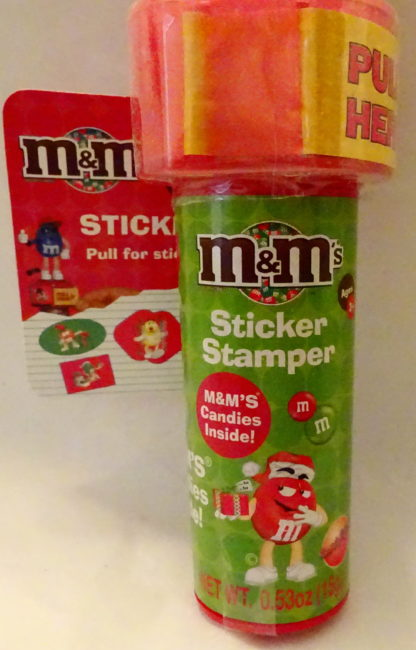 M&M'S Red 2009 Stickers + Chritmas Stamper New With Tag Front Bottom Closeup