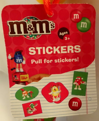 M&M'S Yellow 2009 Stickers + Chritmas Stamper New With Tag Closeup Of Tag 1