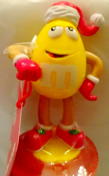 M&M'S Yellow 2009 Stickers + Chritmas Stamper New With Tag Front Top Closeup