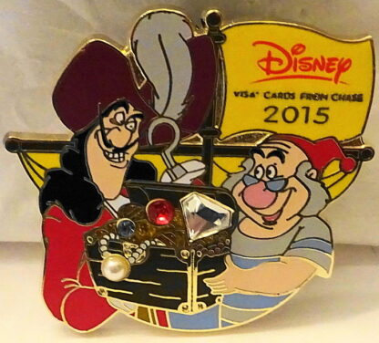 Disney Peter Pan Captain Hook's Treasure Chest 2015 Visa Pin New Front