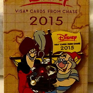 Disney Peter Pan Captain Hook's Treasure Chest 2015 Visa Pin New On Card Front