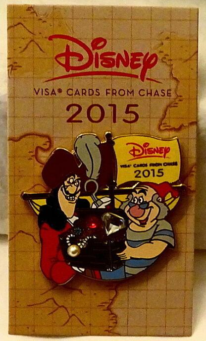 Disney Peter Pan Captain Hook's Treasure Chest 2015 Visa Pin New On Card Front