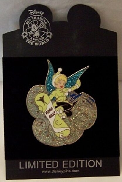 Disney Tinker Bell On Snowboard LE 500 Jumbo Pin New On Card
