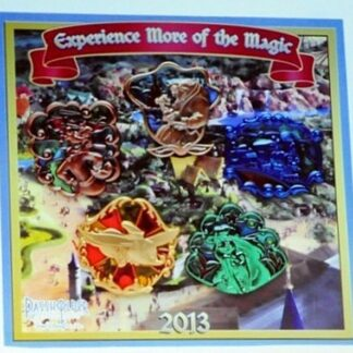 Disney WDW 2013 Annual Passholder New Fantasyland Stained Glass 5 Pin Set New On Card Front