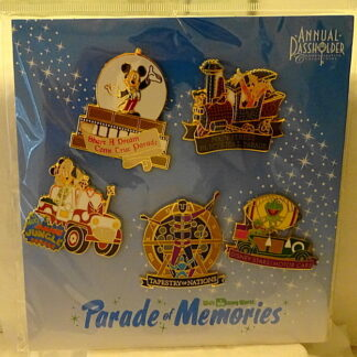 Disney WDW Parade Of Memories 2015 Passholder Pin Set - 5-Pc New On Card Front