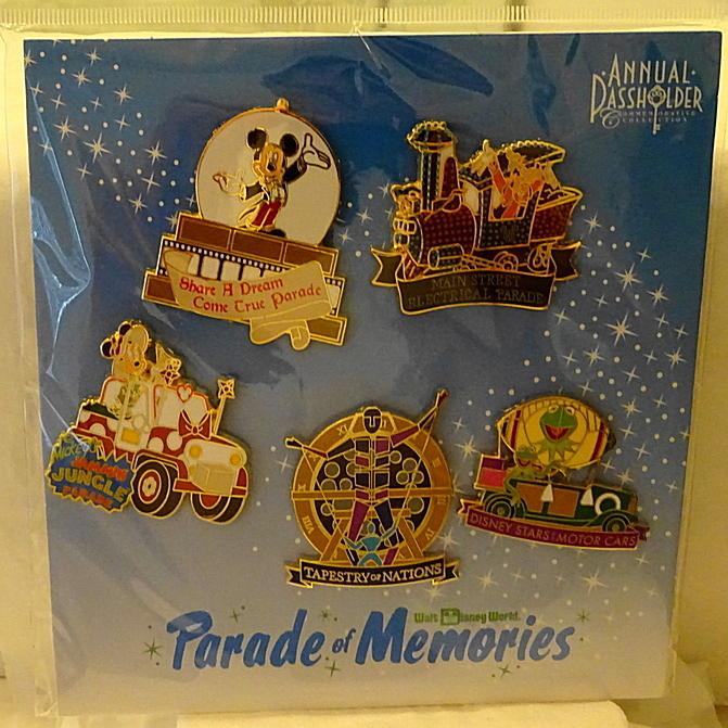 Disney WDW Parade Of Memories 2015 Passholder Pin Set - 5-Pc New On Card Front