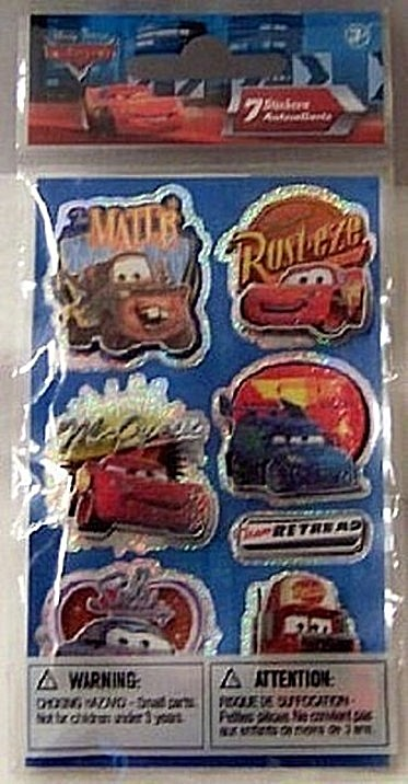 Disney Pixar Cars #7 Sandylion Dimensional Stickers New Front