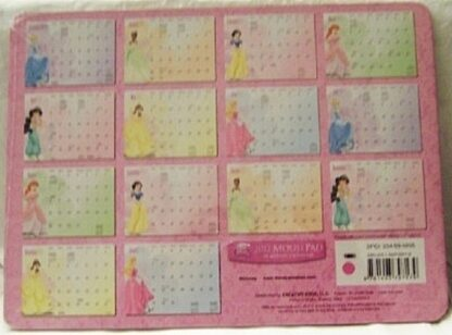 Disney Princess 2011 Mousepad 14 Month Calendar New Back