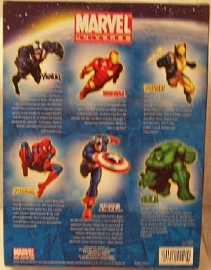 Marvel Universe Collectible Figures Box Set Spiderman Hulk Ironman Captain America Wolverine New Back
