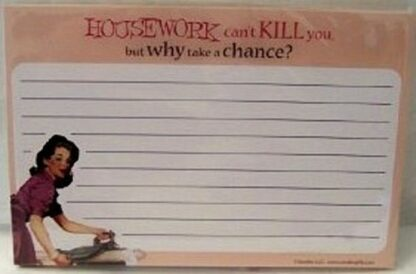 "Housework Recipe Notecards ""Housework Can't Kill You"" Front"