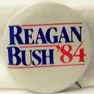 Reagan Bush 1984 Election Button White Background Used Front
