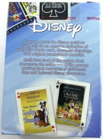 DISNEY Bicycle Collectible Playing Cards New In Pack. Featuring Vintage Movie Posters. Back