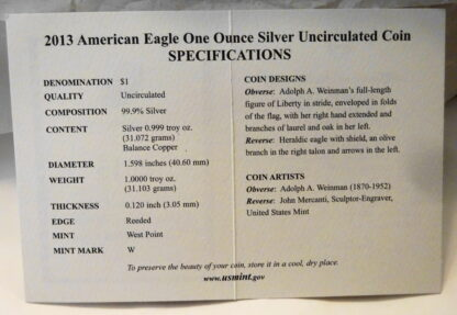 United States Mint American Eagle 2013 Silver Dollar Coin Unc Certificate Of Authenticity Inside.JPG