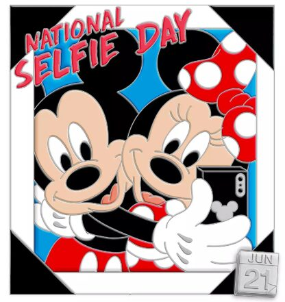 Mickey and Minnie Mouse Pin – National Selfie Day 2020 – Limited Edition Stock Photo