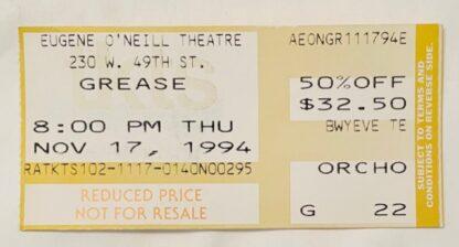 Grease Nov 17, 1994 Ticket Stub Front