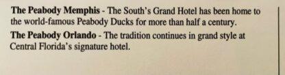 Peabody Hotels Ducks Postcard New Back Closeup Top